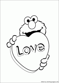 Elmo Love Coloring Page Joseph Pages Free