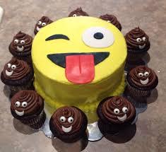 Emoji birthday cake w emoji poop cupcakes