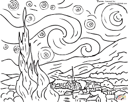 Starry Night By Vincent Van Gogh Coloring Page SuperColoringcom