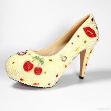 designer red sole fancy white pearl heels wedding bride sparkle