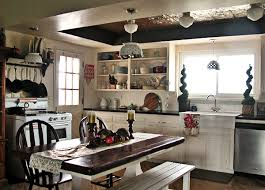 Country Kitchen Dark Stained Butcher Block Countertop