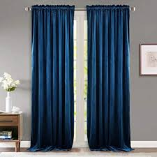 StangH Bedroom Navy Velvet Curtains Blackout Light Blocking Sound Lower Privacy Drapes With Rod Pocket Luxury