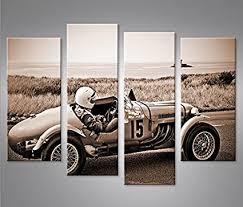 bild bilder auf leinwand rennwagen sepia rennauto vintage classic oldie 4er poster leinwandbild wandbild dekoartikel wohnzimmer marke islandburner
