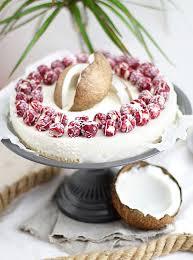 no bake kokos cheesecake mit himbeeren
