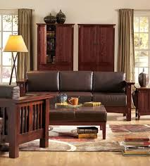 Mission Style Brown Leather Sofa Craftsman Rustic Arts Crafts Couch Oak Finish MissionAmericanCraftsmanArtsandCraftsModern