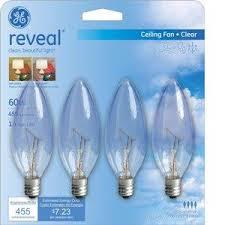 general electric 60 watt reveal皰 blunt tip ceiling fan light bulbs