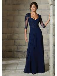 4 length sleeve chiffon and lace long mother of the bride dresses