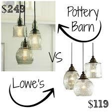 decor look alikes pottery barn paxton glass 3 light pendant 249