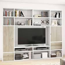 tv wand in weiß glanz sonoma eiche chestna