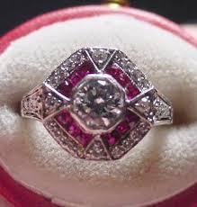 deco ruby and ring platinum deco ruby ring