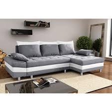 canape angle avec coffre canapé d angle convertible en tissu gris et pvc blanc avec coffre de