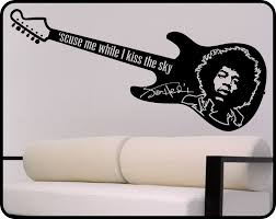Wall Mural Decals Vinyl by Jimi Hendrix Wall Decal U0026 Guitar Vinyl Sticker Wall Art Mural