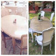 french provincial dining set before and after upholstered