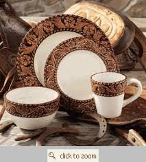 Tooled Leather Western Dinnerware LOVE These Are The EXACT Ones I Wanted Wade Went To Get Em N Theyd Been Discontinued