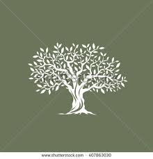 Beautiful magnificent olive tree silhouette on grey background Modern vector sign Premium quality illustration