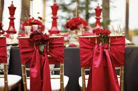Red And Gold Wedding Chair Decorations Theme Full Of Love Passion