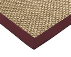 sisal teppich cuadro natur baumwollbordüre bordeaux