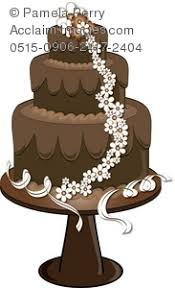 Clip Art Illustration of a Fancy Chocolate Wedding Cake With Flowers