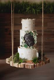 Rustic Birch Wood Inspired Wedding Cake