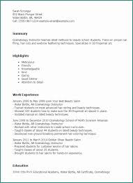 Resume Templates For Cosmetology And Professional Instructor To Showcase