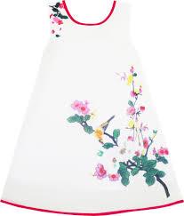 girls dress retro chinese drawing style bird floral tree beach