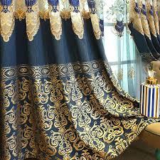 großhandel luxuriöse stickerei vorhang für wohnzimmer bronzing jacquard vorhang für schlafzimmer spun blaue stickerei tüll gardinen jasm 19 35