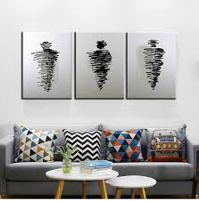 3 Piece Canvas Wall Art Black And White Oil Painting On In Ideas 19