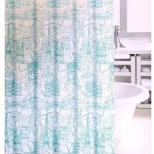 Fabric Shower Curtain Paris Map Aqua Teal Eiffel Tower French