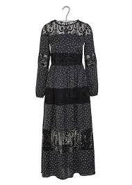 Damen Kleider Schwarz Langes Kleid Aus Spitze Samt Und Bedrucktem