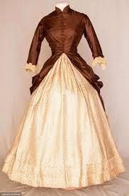 TWO TONE SILK BUSTLE DRESS C 1880 Cream Silk Twill Skirt W Tiny Brown Flower Head Print Has CB Square Insert Of Solid Bustle Ties
