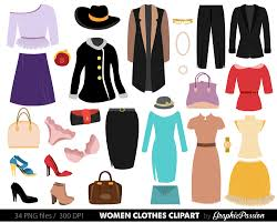 Clothes Clipart Fashion Women Shopping Digital Images