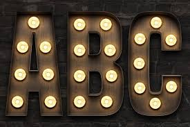 marquee light bulb sign letters objects creative market