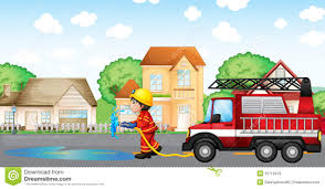 100 Fire Truck Clipart A Man Holding A Hose With A At The Back Stock Vector