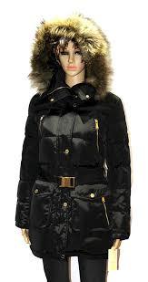 michael kors women u0027s faux fur belted down coat winter jacket black