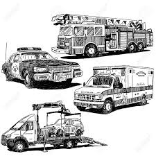100 Fire Truck Drawing Police Car Ambulance And Tow S Set