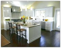 Dark Floors Light Cabinets Kitchen Wood Flooring With