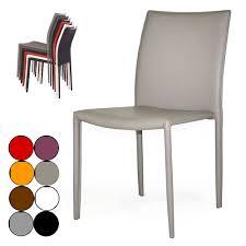 chaise simili cuir gris chaise empilable en simili cuir design
