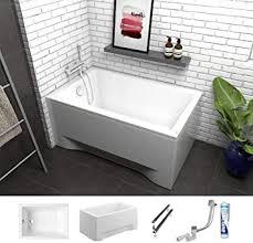 ecolam badewanne mini kleine wanne rechteck acryl weiß 100x70 cm schürze ablaufgarnitur ab und überlauf automatik füße silikon komplett set