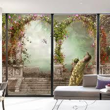 schlafzimmer schrank schiebetüren tür aufkleber nach glas aufkleber wand folie opaque peeling aufkleber 3d stereo gemalt pfau