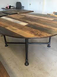 Round dining table reclaimed wood table industrial pipe base