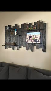 Rustic Reclaimed Wood Wall Decor Shelving 60 Wide X 36 High Deep Inches Item Shown In Dark Walnut Stain Sealed With Polyurethane Light Sheen Solid