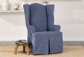 Authentic Denim One Piece Wing Chair Slipcover | Pleated Drape | ¼ ... Buy Chair Covers Slipcovers Online At Overstock Our Best Authentic Denim One Piece Wing Slipcover Pleated Drape Leanking Knit Spandex Fabric Stretch Removable Washable Ding Room Home Decor Set Of 4 B Pcs Room Chair Slipcovers And Also Long Ding Covers Serta Relaxed Fit Smooth Suede Fniture 2 Pack Dingparsons Long Skirt White Cotton Marvelous Cisco Brothers Parsons Dning Slip Barn Beyond How To Sew A For The Ikea Henriksdal Bar Pottery Side Loosefit Tie Indigo Surefit Jacquard Damask Shorty Oyster Sf40120 Hampton Bay Spring Haven Cushionguard Midnight Patio 2pack