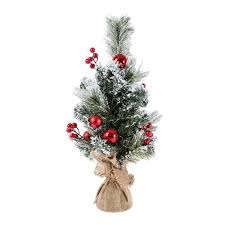 Homescapes Small Frosted Decorative Christmas Tree With Red Berries