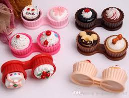 Contact Lens Accessories Storage Set New Cute Cream Cupcake Styles Lenses Case Box Cake Companion Aspheric