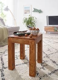 finebuy beistelltisch massiv holz 35 x 35 cm wohnzimmer tisch design braun landhaus stil couchtisch farbe wählbar
