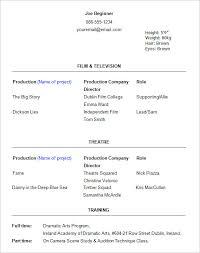 Beginner Acting Resume Template Sample