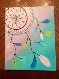 DIY Hand Painted Canvas Follow Your Dreams With Dream Catcher Design