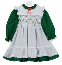 polly flinders green dress with white smocked pinafore polly