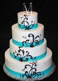 blue and white wedding tiffany blue wedding cake