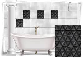 fliesen aufkleber bild mosaik kachel grau schwarz retro